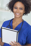 African American Female Woman Doctor & Computer Stock Photography
