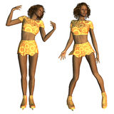 African American figure skater. Digitally rendered image of an African American figure skater in gold outfit Stock Image