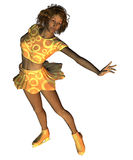 African American figure skater. Digitally rendered image of an African American figure skater in gold outfit Stock Images