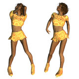 African American figure skater. Digitally rendered image of an African American figure skater in gold outfit Stock Photos