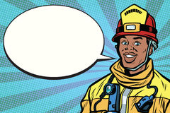 African American firefighter portrait, comic bubble. Pop art retro comic book vector illustration Royalty Free Stock Image