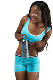 African American fitness woman with bottled water. Attractive African American fitness woman in sportswear holding bottled water, over white background Stock Photos