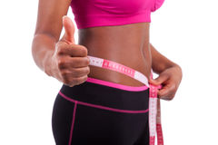 African American Fitness woman making thumbs up Royalty Free Stock Image