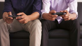 African American friends playing video games. Black people stock footage