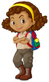 African american girl with backpack Stock Photo
