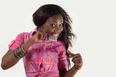 African American Girl Biting Condom-Safe Sex Royalty Free Stock Photos