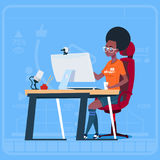 African American Girl Blogger Sit At Computer Streaming Video Blogs Creator Popular Vlog Channel. Flat Vector Illustration Stock Photo