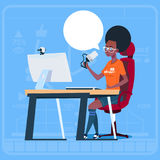 African American Girl Blogger Sit At Computer Streaming Video Blogs Creator Popular Vlog Channel. Flat Vector Illustration Royalty Free Stock Images