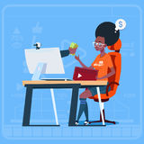 African American Girl Blogger Sit At Computer Streaming Video Blogs Earn Money Creator Popular Vlog Channel. Flat Vector Illustration stock illustration