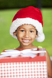 African american girl with christmas present Stock Photography