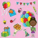 African-American girl with color balloons Royalty Free Stock Photos