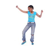 African American Girl Dancing. Isolated african american girl happily do hip hop dancing stock photography
