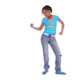 African American Girl Dancing. Isolated african american girl happily dancing Royalty Free Stock Photography