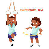 African american girl doing gymnastic exercises Royalty Free Stock Image
