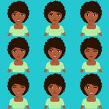 African-American girl expresses emotions. A set of emotions. African-American girl expresses emotions. Life style. Angry, winking, happy, puzzled, unhappy Stock Photos