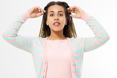 African american girl in fashion clothes  on white background. Woman hipster with afro hair style. Copy space. Banner stock photos