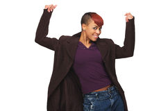 African American Girl with Hands Up Royalty Free Stock Image