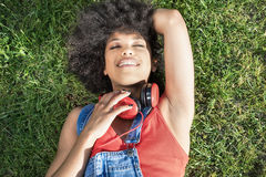 African american girl with headphones. Stock Photography