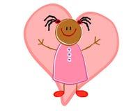 African American Girl Heart vector illustration