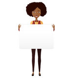 African American girl holding sign banner isolated on white back stock photos
