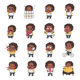 African american girl multicolored stickers (emoji) vector set. Cute naive style. Royalty Free Stock Images