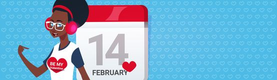 African American Girl Over Calender Page Happy Valentines Day Greeing Horizontal Banner With Copy Space. Flat Vector Illustration Stock Photos