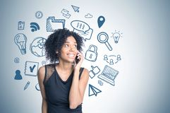 African american girl on phone, internet drawing stock photos