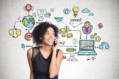 African american girl on phone, internet icons royalty free stock photo