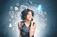 African american girl on phone, internet sketch stock photo