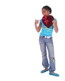 African American Girl Point At. Isolated african american girl holding and pointing at the heart Royalty Free Stock Photos