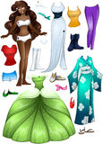 African American Girl Princess Dress Up. A vector illustration of an african girl template outfit and accessories dress up pack vector illustration
