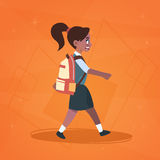 African American Girl Pupil Walking To School Schoolgirl Small Primary Student. Girl Pupil Walking To School Schoolgirl Small Primary Student Flat Vector Royalty Free Stock Photo