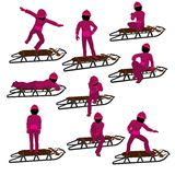 African American Girl On A Sled Silhouette Royalty Free Stock Images