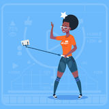 African American Girl Stream Modern Video Blog With Cell Smart Phone Vlog Creator Channel. Flat Vector Illustration vector illustration