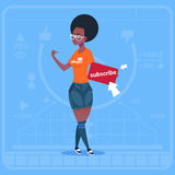 African American Girl Subscribe Modern Video Blogger Vlog Creator Channel Like. Flat Vector Illustration Royalty Free Stock Photo