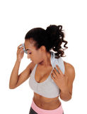 African American girl sweating after workout. Stock Photos