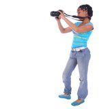 African American Girl Taking P. Isolated african american girl taking picture with digital camera royalty free stock photography