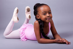 African American girl wearing a ballet costume Royalty Free Stock Photo