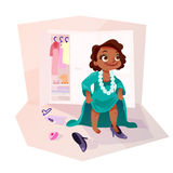 African american girl wearing moms clothes Stock Images