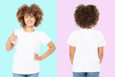 African american girl in white t shirt template on isolated. Blank t shirt design. Front and back view. Mock up and copy space.  royalty free stock image