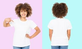 African american girl in white t shirt template on isolated. Blank t shirt design. Front and back view. Mock up and copy space.  stock photo