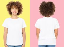 African american girl in white t shirt template on isolated. Blank t shirt design. Front and back view. Mock up and copy space.  stock photos