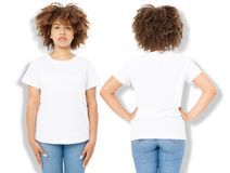 African american girl in white t shirt template and shadow on wall background. Blank t shirt design. Front and back view. Mock up and copy space stock photo