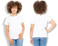 African american girl in white t shirt template and shadow on isolated wall background. Blank t shirt design. Front and back view. Mock up and copy space royalty free stock photography