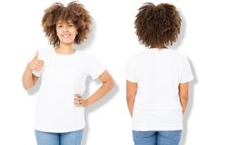 African american girl in white t shirt template and shadow on isolated wall background. Blank t shirt design. Front back view. African american girl in white t stock photos
