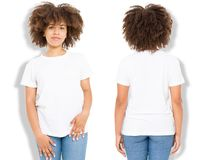African american girl in white t shirt template and shadow on isolated wall background. Blank t shirt design. Front and back view. Mock up and copy space stock photos