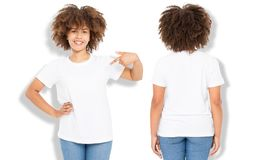 African american girl in white t shirt template and shadow on wall background. Blank t shirt design. Front and back view. Mock up and copy space stock image