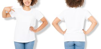 African american girl in white t shirt template and shadow on wall background. Blank t shirt design. Front and back view. Mock up and copy space. Cropped image royalty free stock image