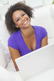African American Girl Woman Using Laptop Computer Royalty Free Stock Photo