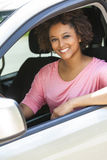 African American Girl Young Woman Driving Car Royalty Free Stock Images